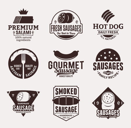Set of brown sausage logo, icons and design elements