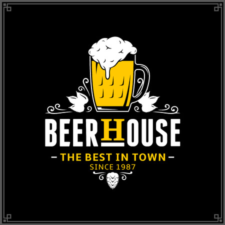 Vector white and yellow vintage beer house logo isolated on black background for beer house, bar, pub, brewing company branding and identity Illustration