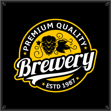 Vector white and yellow vintage brewery logo isolated on black background for 