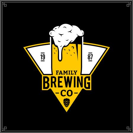 Vector white and yellow vintage brewing company logo isolated on black background.