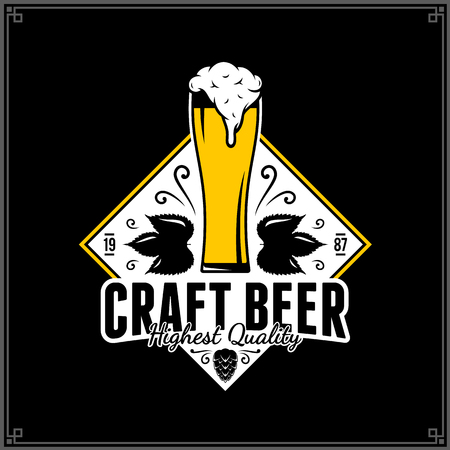 Vector white and yellow vintage beer logo isolated on black background for beer house, bar, pub, brewing company branding and identity