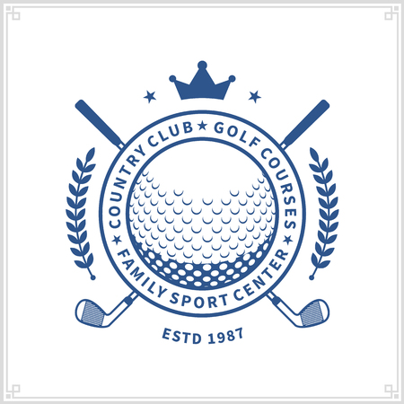 Vector blue golf club logo on white background for golf tournaments, organizations and country clubs