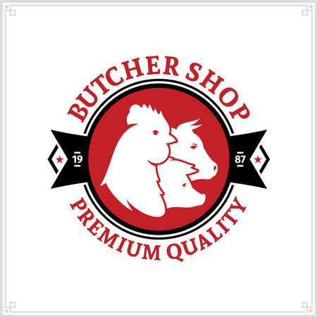 Butcher shop black and red logo with farm animal icons for groceries, food labels, meat stores, packaging and advertising