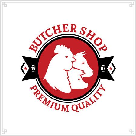 Logotipo negro y rojo de carnicería con iconos de animales de granja para comestibles, etiquetas de alimentos, tiendas de carne, empaques y publicidad Foto de archivo - 97141689