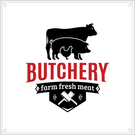 Butcher shop black and red logo with farm animals and knives for groceries, food labels, meat stores, packaging and advertising 矢量图像