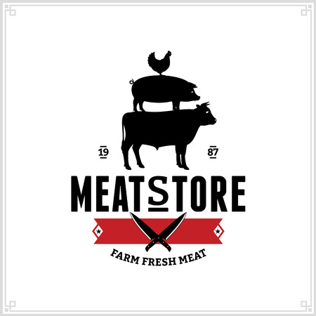 Butcher shop black and red logo with farm animals and knives for groceries, food labels, meat stores, packaging and advertising Vettoriali