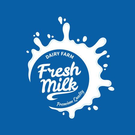Vector white milk logo template on blue background. Milk, yogurt or cream splash for groceries, agriculture stores, packaging and advertising
