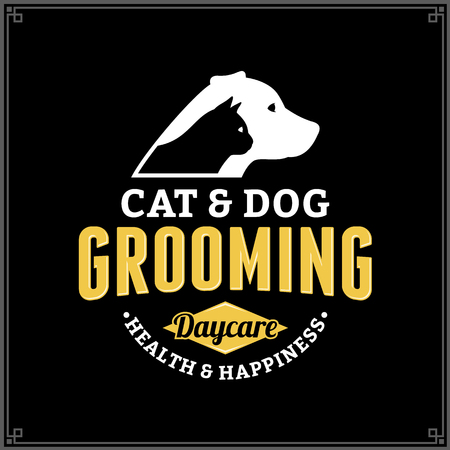 Vector cat and dog grooming logo. Dog and cat icon for pet club or shop, sport club or veterinary clinic