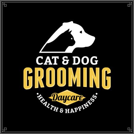 Logo governare cane e gatto di vettore. Icona di cane e gatto per pet club o negozio, sport club o clinica veterinaria Archivio Fotografico - 97135378