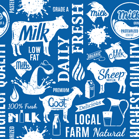 Retro styled typographic vector milk seamless pattern or background. Milk icons collection for groceries, agriculture stores, packaging and advertising Ilustração