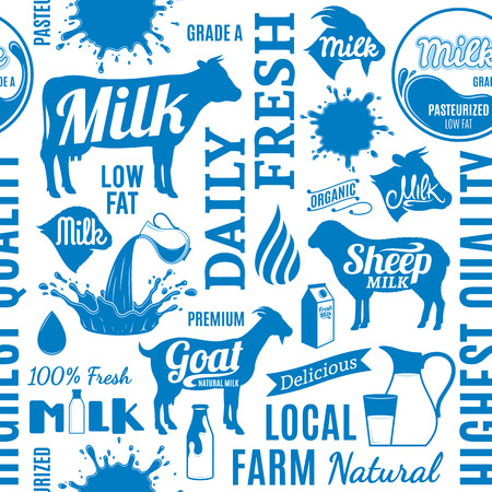 Typographic vector milk icons pattern