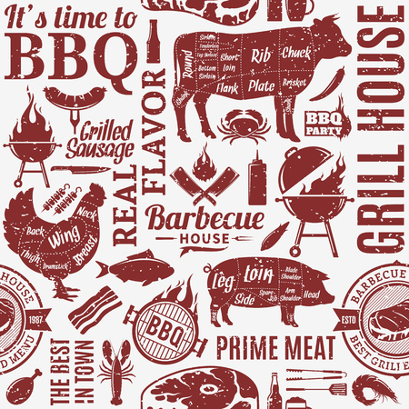 Retro styled typographic vector barbecue seamless pattern or background. BBQ, meat, vegetables, beer, wine and equipment icons