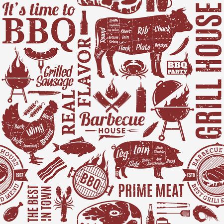 Vector tipográfico estilo retro barbacoa de patrones sin fisuras o fondo. Iconos de barbacoa, carne, verduras, cerveza, vino y equipo Ilustración de vector
