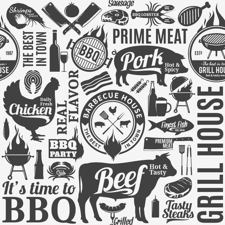 Typographic vector barbecue seamless pattern or background.