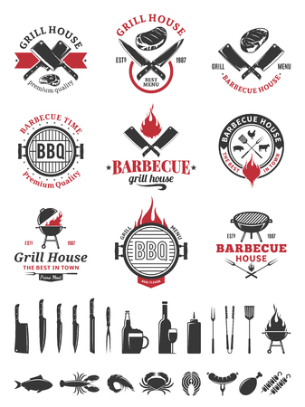 Barbecue black and red logo and labels. BBQ, seafood, meat, beer, wine and knives icons for cafe, bar and restaurant menu, brandign and identity.