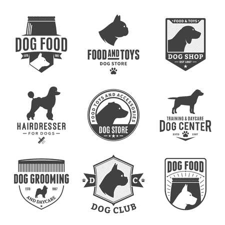 Set of vector dog logo and icons for dog club or shop