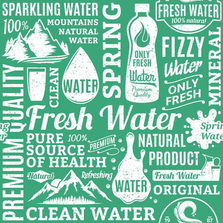 Retro styled typographic vector water seamless pattern or background. Drinking water icons and design elements for packaging, branding and identity Illustration