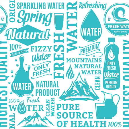 Typographic vector water seamless pattern or background. Drinking water icons and design elements for packaging, branding and identity Illustration