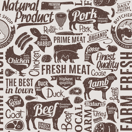 Retro styled typographic vector butchery seamless pattern or background. Farm animals icons and butcher shop design elements for groceries, meat stores, packaging and advertising