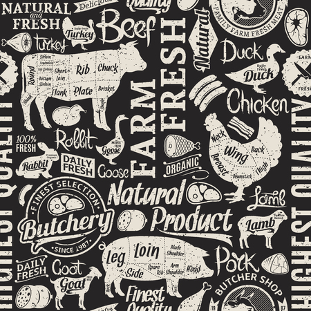 Retro styled typographic vector butchery seamless pattern or background.