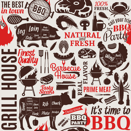 Typographic vector barbecue seamless pattern or background. BBQ, meat, vegetables, beer, wine and equipment icons for cafe, bar and restaurant menu, branding and identity