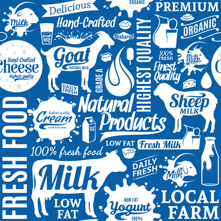 Typographic vector milk product seamless pattern or background. Dairy product icons collection for groceries, agriculture stores, packaging and advertising. Ilustracja