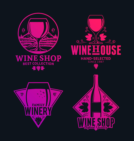 Set of vector purple-crimson wine, icons and design elements for wine shop, restaurant menu, labels, winery branding and identity.  イラスト・ベクター素材