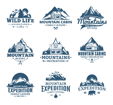 Set of vector mountain and outdoor recreation icon. Mountains and travel icons for tourism organizations, outdoor adventures and camping leisure.