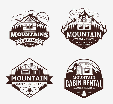 Set of vector mountain recreation and cabin rentals icon. Mountains and travel icons for tourism organizations, outdoor adventures and camping leisure. Иллюстрация
