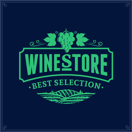 Wine vector icon on dark blue background for wine shop, restaurant menu, winery branding and identity. Illusztráció