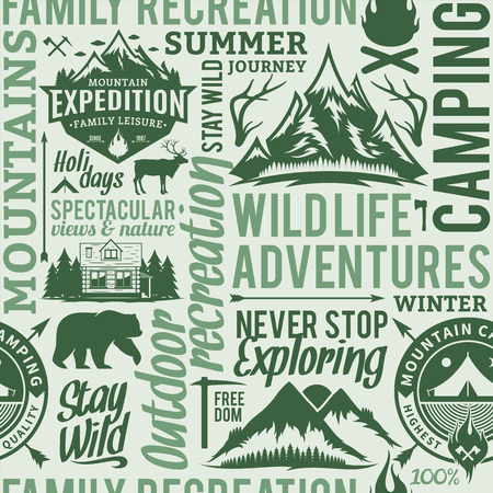 Typographic vector mountain and outdoor adventures seamless pattern or background.