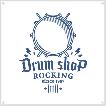 Vector drum shop logo. Music icon for audio store, branding, poster or t-shirt print