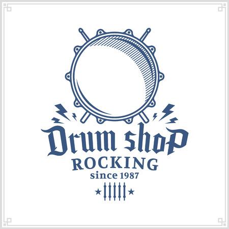 Vector drum winkel logo. Muziekpictogram voor audioopslag, branding, poster of t-shirt
