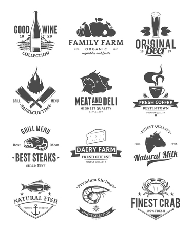 Vector food and drink logo. Meat, milk, seafood, beverages, fruits and vegetables icons for grocery, food shop, product label, packaging and advertising