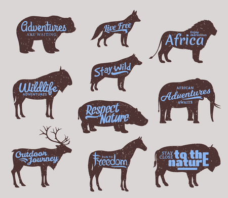 Vector wild animals silhouettes.