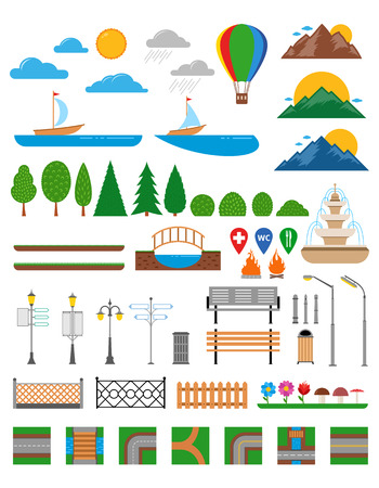 Vector nature and urban elements icon set. Parks, alleys, streets and sidewalks decoration. Lights and outdoor elements for construction of city, park and outdoor landscapes