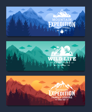 Mountain and outdoor adventures horizontal banner set. Mountains landscapes with trees, mountains, clouds and sky vector illustration