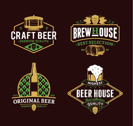 Set of vector vintage beer logo, icons and design elements for beer house, bar, pub, brewing company branding and identity Illustration