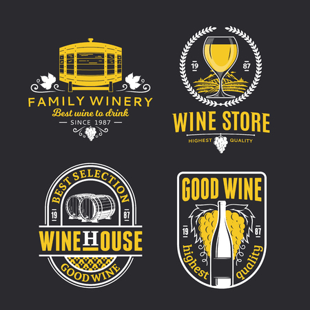 Set of vector wine logo, icons and design elements for wine shop, restaurant menu, labels, winery branding and identity