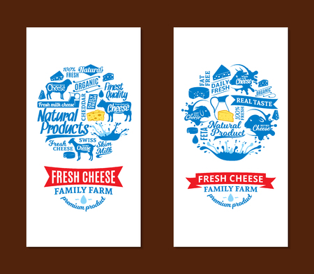 Blue and white fresh cheese family farm cards. Çizim