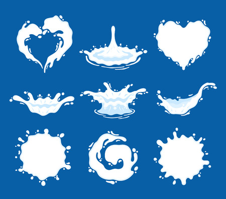Milk, yogurt or cream splashes and blots. Milk shape creative illustrations and icons for grocery, agriculture store, packaging and advertising