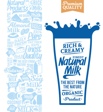 Vector milk logo. Milk, yogurt, cream, cheese icons for grocery, agriculture store, packaging and advertising Illustration