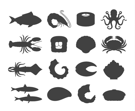 Vector seafood and sushi icons collection for groceries, stores, sushi bars and advertising