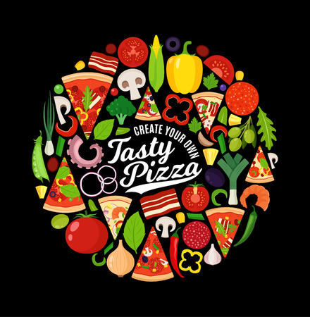 Vector pizza illustration with many ingredients on black background. Create your own pizza kit