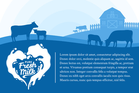 Fresh milk poster illustration with milk splash and a landscape with cows, calves and a barn Illustration