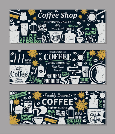 Retro styled vector coffee banners. Mugs, beans and coffee equipment icons for coffeehouse, espresso bar, restaurant, cafe, packaging, branding and identity