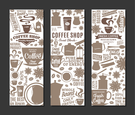 Vertical coffee shop banners with mugs and beans design
