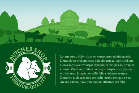 Vector butcher shop illustration with rural landscape and farm animals