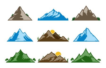 Vector mountains icons isolated on white. Mountains and travel icons for tourism organizations, outdoor events and leisure.