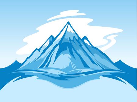 Vector blauwe en witte het landschapsillustratie van de sneeuwberg.
